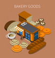 bakery goods isometric background vector image vector image