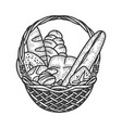 basket with bread sketch vector image