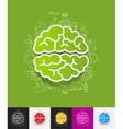 brain paper sticker with hand drawn elements vector image vector image