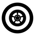 car wheel icon black color in circle or round vector image vector image