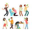 cartoon man and woman alcoholic people drunkard vector image