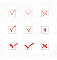 check marks icons set with texture vector image vector image
