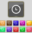 clock icon sign Set with eleven colored buttons vector image
