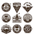 coffee set nine black and white emblems vector image vector image