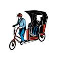 Cycle Rickshaw with driver and passenger vector image