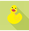 Digital duck toy over green background vector image vector image