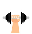 dumbbell in hand flat cartoon vector image vector image
