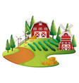 farm scene with crops and barn vector image vector image