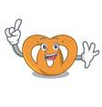 finger pretzel mascot cartoon style vector image vector image
