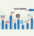 flat auto service poster with hands vector image vector image