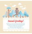 Flat forest scene card with trees vector image vector image