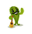 friendly humanized cactus black mustache and vector image vector image