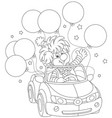 funny clown driving his car with balloons vector image