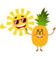 funny pineapple and sun characters enjoying summer vector image vector image