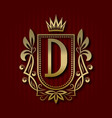 golden royal coat of arms with d monogram vector image vector image