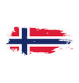 grunge brush stroke with norway national flag vector image vector image