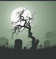 halloween spooky dead tree in graveyard vector image vector image