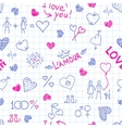 Hand drawn frame from love elements and cute vector image