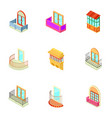 House window icons set isometric style