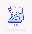 iron with plug thin line icon vector image vector image