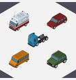 isometric automobile set of truck first-aid vector image vector image