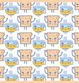 kawaii cute happy bread and coffee cup background vector image vector image