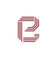 letter e with geometric three strips logo vector image vector image