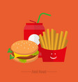 lunch french fries water on a orange background vector image