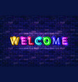 neon welcome letters vector image