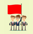 people are holding a red flag vector image vector image