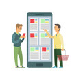 people buying from online store with smartphones vector image vector image