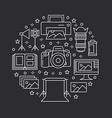 photography equipment poster with flat line icons vector image vector image