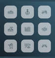public skyline icons line style set with circus vector image