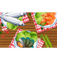seafood set on wooden table vector image