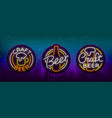 set of beer logo neon signs logos of emblem in vector image