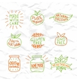 Set of hand drawn natural badges and labels
