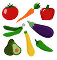 set of healthy vegetables vector image vector image