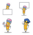set of pencil character with board up megaphone vector image vector image