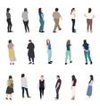set silhouette walking people vector image vector image
