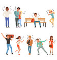 set with people listening music young guys and vector image vector image
