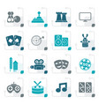 stylized entertainment objects icons vector image