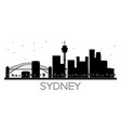 sydney city skyline black and white silhouette vector image vector image