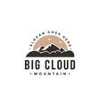 vintage big cloud and mountain landscape logo vector image