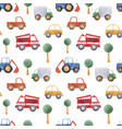 watercolor baby car vehicle pattern vector image