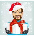 Young man wearing a santa hat offering a gift vector image vector image