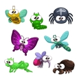 Funny cartoon insects set vector image