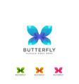 abstract colorful butterfly logo icon set vector image vector image