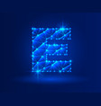 abstract glowing letter e on dark blue background vector image vector image
