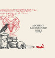 alchemy background with vintage sketches and notes
