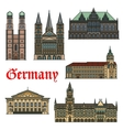Architectural travel landmarks of Germany vector image